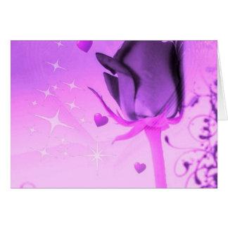 Púrpura color de rosa y del amor felicitación