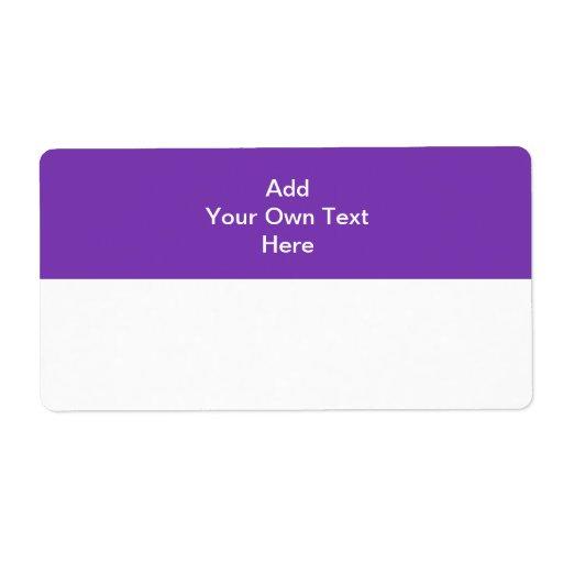 Púrpura con el área y el texto blancos etiqueta de envío