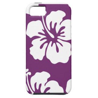 Púrpura con el hibisco blanco iPhone 5 carcasa