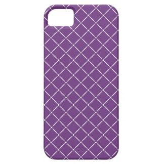 Púrpura con el modelo acolchado blanco funda para iPhone 5 barely there