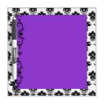 Púrpura con el tablero seco del borrado del damasc tableros blancos