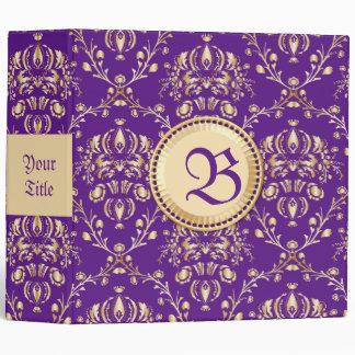 """Púrpura con monograma del oro del damasco medieval carpeta 2"""""""
