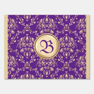 Púrpura con monograma del oro del damasco medieval carteles
