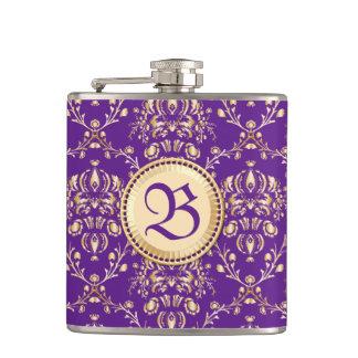Púrpura con monograma del oro del damasco medieval petaca
