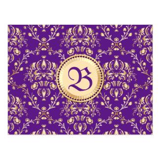 Púrpura con monograma del oro del damasco medieval postales