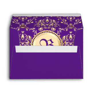 Púrpura con monograma del oro del damasco medieval sobres
