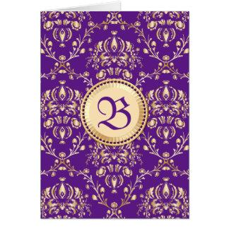 Púrpura con monograma del oro del damasco medieval tarjeta de felicitación