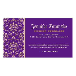 Púrpura con monograma del oro del damasco medieval tarjetas de visita