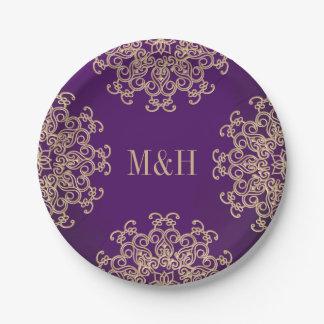 Púrpura con monograma y boda indio del estilo del platos de papel