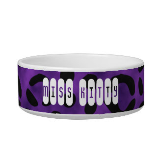 Púrpura conocida de encargo del estampado leopardo boles para gatos