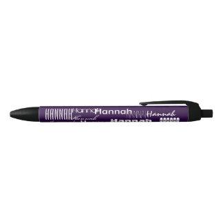 Púrpura conocida personalizada boligrafo tinta negra