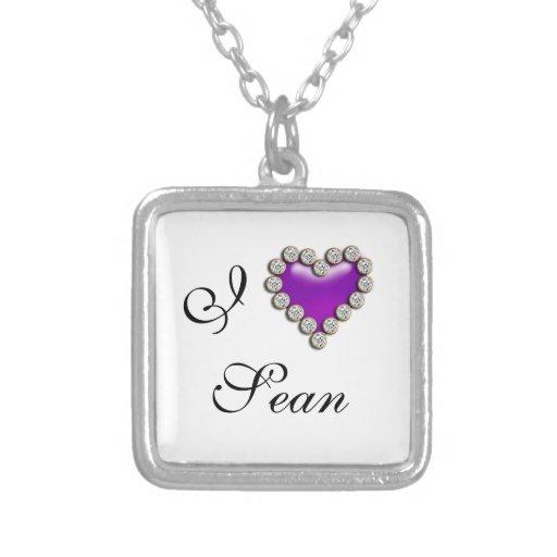 Púrpura conocida romántica del corazón I Colgante Cuadrado