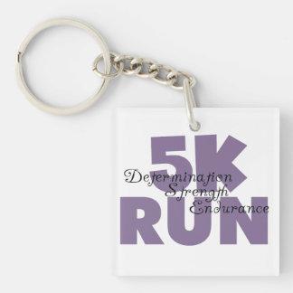 púrpura corrida 5K Llavero Cuadrado Acrílico A Doble Cara
