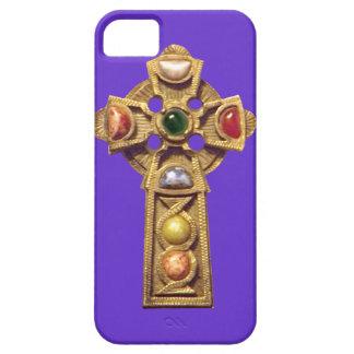 Púrpura cristiana céltica Jeweled del caso del Funda Para iPhone 5 Barely There