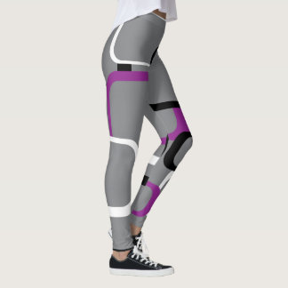 Púrpura, cuadrados retros blancos y negros leggings