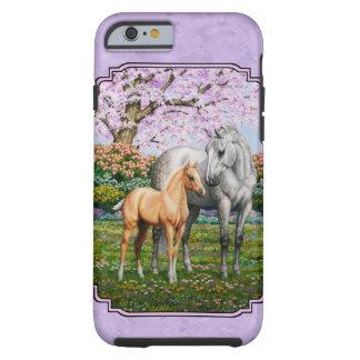 Púrpura cuarta de la yegua y del potro del caballo funda para iPhone 6 tough
