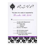 púrpura Damak del negro de la tarjeta de 3.5x5 R.S Invitación Personalizada