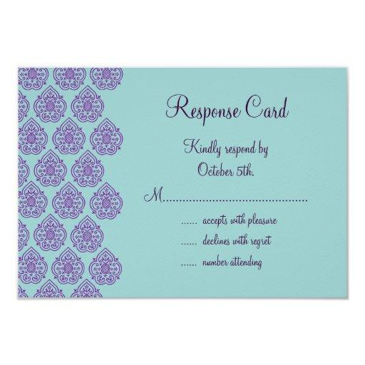 Púrpura/damasco RSVP de la turquesa Invitacion Personal