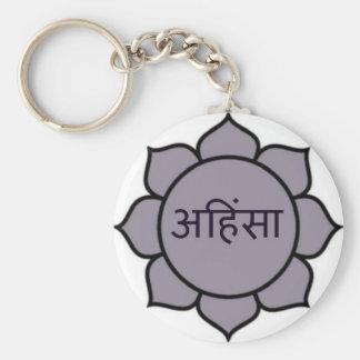 Púrpura de Ahimsa Lotus Llavero Redondo Tipo Pin