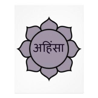 Púrpura de Ahimsa Lotus Membrete A Diseño