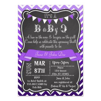 """Púrpura de BabyQ de la pizarra de Ombre Chevron Invitación 5"""" X 7"""""""