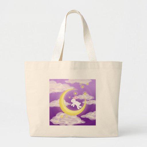 Púrpura de Buny de la luna Bolsa Tela Grande