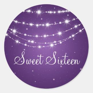 Púrpura de cadena chispeante del dulce dieciséis pegatina redonda