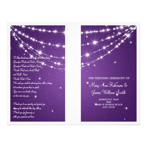 Púrpura de cadena chispeante del programa del boda tarjetones