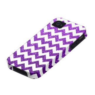 Púrpura de Chevron del brillo iPhone 4/4S Funda