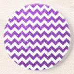 Púrpura de Chevron del brillo Posavasos Personalizados
