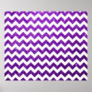 Púrpura de Chevron del brillo Póster