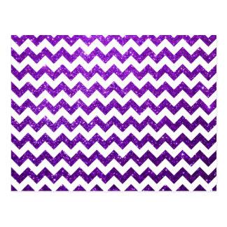 Púrpura de Chevron del brillo Tarjetas Postales