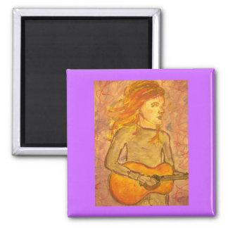 púrpura de dibujo de la guitarra acústica imán cuadrado