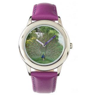 Púrpura de encargo del acero inoxidable del pavo relojes de pulsera
