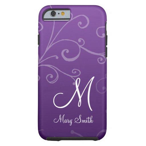 Púrpura de encargo del monograma del remolino funda de iPhone 6 tough