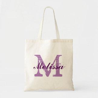 Púrpura de encargo del nombre del monograma bolsa tela barata
