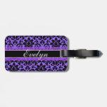 Púrpura de encargo etiqueta para maleta