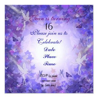 Púrpura de hadas de la invitación de la fiesta de
