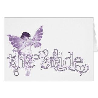Púrpura de hadas del vestido blanco - la novia tarjetas