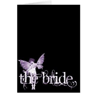Púrpura de hadas del vestido blanco - la novia felicitaciones