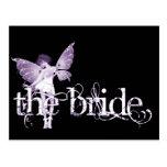 Púrpura de hadas del vestido blanco - la novia postal