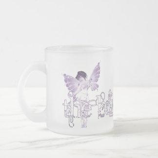 Púrpura de hadas del vestido blanco - la novia taza de cristal