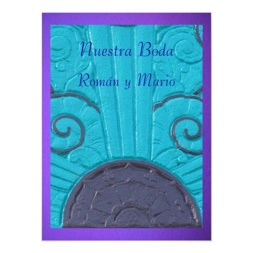 Púrpura de Invitación - de Nuestra Boda - de Azul