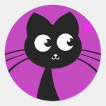 Púrpura de Kuro del gatito Pegatina Redonda