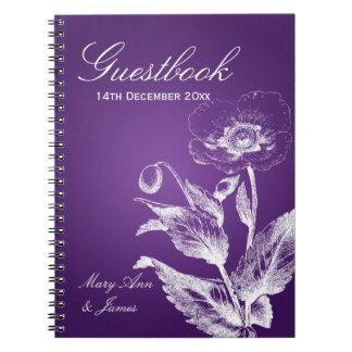 Púrpura de la amapola del Guestbook del boda Cuadernos