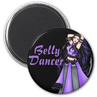 Púrpura de la bailarina de la danza del vientre de imán redondo 5 cm
