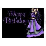 Púrpura de la bailarina de la danza del vientre de tarjeton