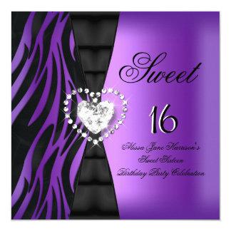 """Púrpura de la cebra de la fiesta de cumpleaños invitación 5.25"""" x 5.25"""""""