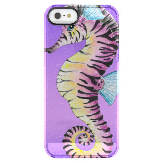 Púrpura de la cebra del Seahorse Funda Clearly™ Deflector Para iPhone 5 De Uncommon