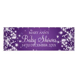 Púrpura de la chispa del invierno de la etiqueta d plantilla de tarjeta personal